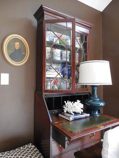 Amazon Classic Antique Black Finish Fold Down Secretary Desk With Hutch Home Kitchen