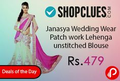 Shopclues #DealsoftheDay is offering 90% off on Janasya Wedding Wear Patch work Lehenga unstitched Blouse at Rs.479 Only.Prepare to outshine the rest with this classy lehenga. Pallu -Georgette, Skirt- Net Blouse, Fabric – Dhupain, Blouse Size – 0.80 Meter.  http://www.paisebachaoindia.com/janasya-wedding-wear-patch-work-lehenga-unstitched-blouse-at-rs-479-only-shopclues/
