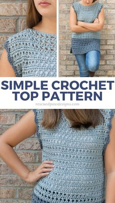 Olivia Free Crochet Top Pattern - Easy Crochet Crochet Top Pattern - Make this crochet shirt today with this FREE crochet pattern the Olivia from Rescued Paw Designs Crochet Tank Tops, Crochet Summer Tops, Crochet Tunic, Easy Crochet, Crochet Clothes, Free Crochet, Crochet Vests, Crochet Edgings, Tutorial Crochet