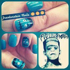 halloween nails - frankenstein nails