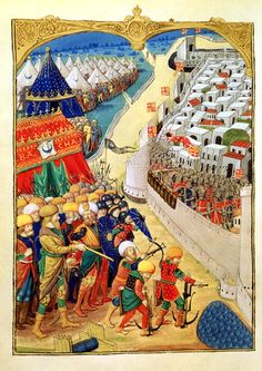 Ottoman Sultan Mehmet II's troops besiege Constantinople in as seen in this Turkish. Mehmed The Conqueror, Fall Of Constantinople, Ottoman Turks, Sassanid, Classical Antiquity, Renaissance Art, Medieval Art, Ottoman Empire, 15th Century