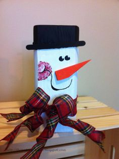Snowman created out of scrap wood!