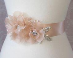 Peach Sash, Peach Blush Bridal Sash, Wedding Belt, Rhinestone and Pearl Bridal Sash - VIN DE PECHE. $104.00, via Etsy.