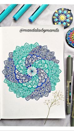 Zentangle Drawings, Zentangle Patterns, Art Drawings Sketches, Zentangles, Colorful Mandala Tattoo, Flower Mandala, Coloured Mandala, Mandala Book, Mandala Art