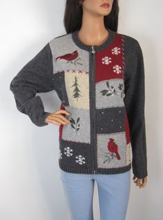 Vintage 1980s Novelty Festive Christmas Zip-up Grey Cardigan from Virtual Vintage Clothing