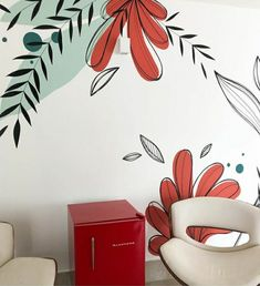 Wall Decor Design, Wall Art Designs, Paint Designs, Wall Painting Decor, Mural Wall Art, Bedroom Murals, Wall Drawing, Eclectic Decor, Home Decor Furniture