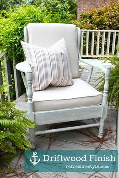 A chair with a drift wood finish... perfect for Summer!    www.refreshrestyle.com #SummerDecor  #PaintedFurniture