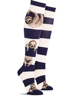 Sloths totally love hanging around. Like, for hours on end. And that's how long you'll get enjoyment out of these fun sloth socks in a knee high length! These are perfect for anyone who wants to put a