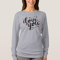 Simple I Love You Valentine Sleeve Shirt   Valentines Day Gifts Love Couple  Diy Personalize For