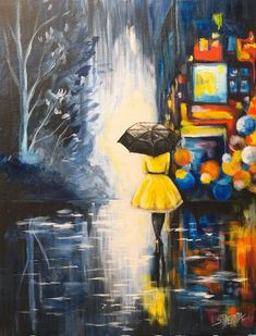 Girl in Yellow Dress black umbrella City Lights at Night Rainy Day painting Step by step acrylic on Canvas free Video tutorial For beginners by The Art Sherpa
