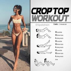 Crop Top Workout Fitness Workouts, Summer Body Workouts, Cheer Workouts, Fitness Workout For Women, Body Fitness, Fitness Tips, Physical Fitness, Fast Ab Workouts, Cheer Abs