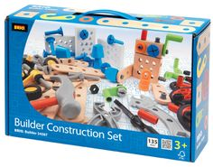 "Build, create and build again! Features 135 pieces, including a hammer, screwdriver, pliers and wrench! A fun way to practice hand/eye coordination. Package measures 12.5"" x 8"" x 3.5""."