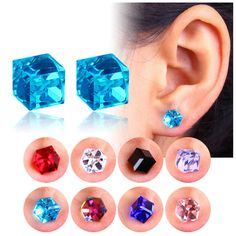 Creative Unisex Cubic Crystal Magnetic Clip Earrings Fashion Magnet No Piercing Colorful Earrings Magnetic Earrings, Ear Studs, Cube, Pairs, Magnets, Stud Earrings, Jewellery, Piercings, Weight Loss