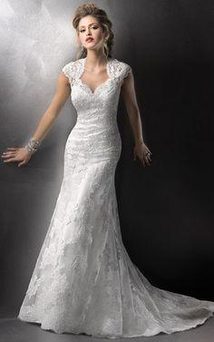 Robe de mariée sirène sans taille sans manches col v avec dentelle