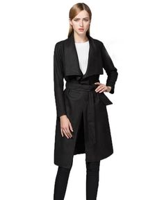 Solid Color Long Sleeve Cardigan with Belt (Black)