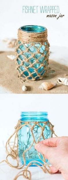 Beautiful Beachy Projects with a Farmhouse Flair – The Cottage Market - DIY Ideen Mason Jar Crafts, Bottle Crafts, Mason Jars, Fun Crafts, Diy And Crafts, Arts And Crafts, Beach Crafts, Craft Projects, Projects To Try