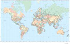 Mapa Mundi completo em adesivo decorativo para parede