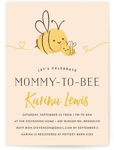 Mommy-to-Bee Baby Shower Invitations