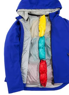 Colmar Originals women's jacket from the Research line in laminated, super-matt fabric featuring inner padding created by removable down chambers - Colmar