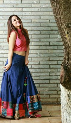 Blue long skirt and pink top..
