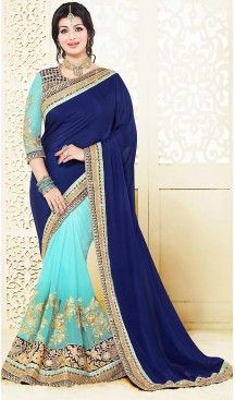 Celebrty Ayesha Takia in Navy Blue Color Chiffon Lehenga Style Saree… #heenastyle.com, #saree, #sarees, #sari, #saris, #style, #lehengasaree, #fashion