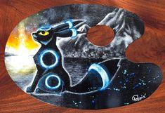 Acrylique/peinture/palettedepeintre/palette/Pokémon/Noctali/contemporain/peinture/réalisme/tableau/acrylique/illustration/graphisme/paint/Poppix' 28x18cm Palette, Kids Rugs, Illustration, Decor, Acrylic Board, Painted Canvas, Black N White, Graphic Design, Contemporary