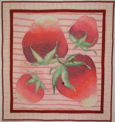 Strawberries and Stripes Wall Hanging or Table by paintedquilts