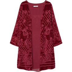 Velvet Kaftan (2.220 RUB) ❤ liked on Polyvore featuring tops, tunics, cardigans, jackets, kimono, mango, outerwear, sheer top, velvet top and red tunic