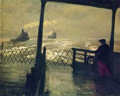 John Sloan (American, 1871-1951)   1907, The Wake of the Ferry, oil on canvas 66 x 81.3 cm