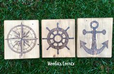 Nautical wood signs, Nautical signs, Anchor sign, Compass sign, Boat sign, Rustic nautical decor, Nautical decor, Rustic wood sign,