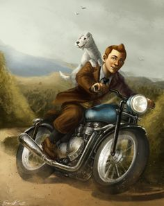 Tintin just wants to ride his motorcycle