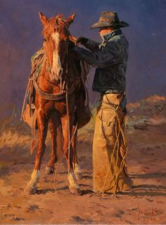 "Jughead by Bill Owen, who says ""Cowboys use the term 'Jughead' to describe a colt whose head is too large for his body. This painting was one of seven pieces Bill created for his 2008 Cowboy Artists of America Show & Exhibition, held each year in"