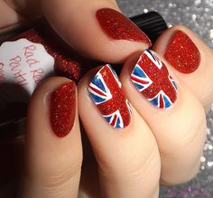 Union Jack Nail Art using Rad Red Party Dress by Lynnderella