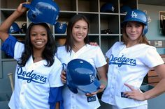 """""""Fierce Five"""" members Gabby Douglas, Kyla Ross and McKayla Maroney attend a game between the San Diego Padres and the Los Angeles Dodgers at #DodgerStadium in Los Angeles on Sept. 3, 2012. The trio threw out the first pitch. http://celebhotspots.com/hotspot/?hotspotid=6452&next=1"""