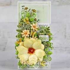 Yellow Floral Slimline Handmade Greeting Card with Heartfelt Creations - Send best wishes the fun and floral way with this handmade card! Want more cardmaking ideas? Check out the Heartfelt Creations blog for more papercrafting techniques, projects, and ideas for beginners and advanced crafters! Pin now to save for later! #HeartfeltCreations #stamps #dies #blog #handmadecard Heartfelt Creations Cards, E 500, Clear Glue, Shaped Cards, Felt Hearts, Flower Shape, Floral Bouquets, Small Flowers, Greeting Cards Handmade