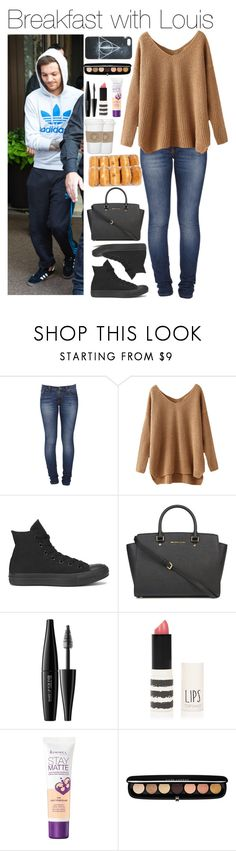 """Breakfast with Louis"" by xhoneymoonavenuex ❤ liked on Polyvore featuring Nudie Jeans Co., Converse, Michael Kors, WALL, MAKE UP FOR EVER, Topshop, Rimmel, Marc Jacobs and Hot Topic"