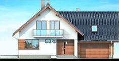 DOM.PL™ - Projekt domu DN NOELIA BIS 2M (garaż dwustanowiskowy) CE - DOM PC1-50 - gotowy koszt budowy Malaga, Garage Doors, Shed, Outdoor Structures, Cabin, House Styles, Outdoor Decor, Collections, Home Decor