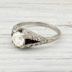 .95 Carat Vintage Diamond & Onyx Engagement Ring | Erstwhile Jewelry Co.