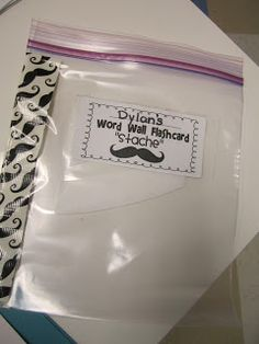 """Word Wall Flashcard """"Stache"""" for take-home binders"""