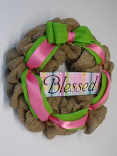 Burlap Wreath with Blessed Sign, Religious Burlap Wreath, Front Door Wreath, Burlap Blessed Wreath, Religious Wreath for your Home by BeautifulHomeAccents on Etsy
