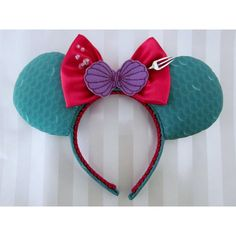 Ariel Princess Inspired Mouse Ears Headband, Custom Ears ($38) ❤ liked on Polyvore featuring accessories, hair accessories, head wrap headband, wide headbands, hair band accessories, headband hair accessories and hair band headband