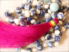 Pearl porcelain amazonite 108 prayer beads Calming Mala birthstone Virgo Throat Chakra Long Fuchsia Orchid Chinese tassel Pink Yoga Luxe