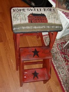 I foudn this stool with the fold away steps...supe fun to paint.