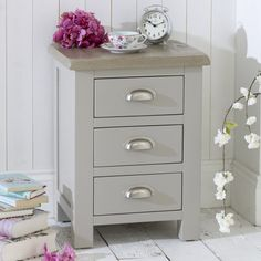 This Chester Grey painted 3 Drawer Bedside is very practical with its large drawer space and its the perfect bedside cabinet size. The drawer fronts feature stylish brushed steel D-cup for easy usage. The Chester Grey range is really on trend with its Furniture Market, Home Furniture, Bedside Cabinet, Large Drawers, Grey Paint, Grey Stone, Drawer Fronts, Furniture Collection, Gray Color