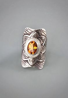 Citrine and Sterling Statement Saddle Ring Artisan Jewelry, Handmade Jewelry, Saddle Ring, Summer Sale, Metal Jewelry, Precious Metals, Class Ring, Rings, Crafts