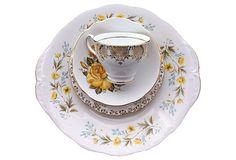 Yellow Rose and floral china, 4 pcs.