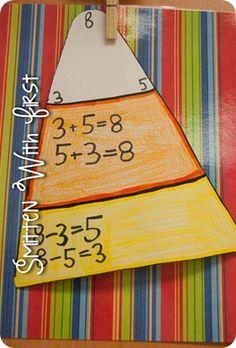 Candy corns, fact families, and turkeys - Smitten with First Second Grade Math, First Grade Classroom, Math Classroom, Classroom Ideas, Future Classroom, Grade 1, Math Resources, Math Activities, Halloween Math
