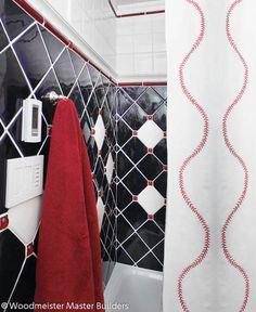 Baseball Theme Design, Pictures, Remodel, Decor and Ideas Baseball Bathroom Decor, Baseball Wall, Baseball Mom, Boy Bath, Eclectic Bathroom, Bathroom Inspiration, Bathroom Ideas, Interior Design Studio, Home Decor Items