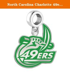 """North Carolina Charlotte 49ers Logo Dangle Fits All European Style Charm Bracelets. This charm features a silver background with green accent color. A grueling 10 step manufacturing process results in a unique charm that represents the North Carolina Charlotte spirit with exacting detail. Spirit with style!..... Solid Sterling Silver..... Officially Licensed..... """"the indicia featured on this product is a protected trademark owned by the University of North Carolina at Charlotte.""""."""