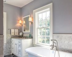 Neoclassical Home - traditional - kitchen - new york - Knight Architects LLC Remodel, Free Standing Tub, House Windows, Home, Bath Inspiration, Bathroom Windows, Traditional Bathroom, Marvin Windows And Doors, Bathroom Flooring